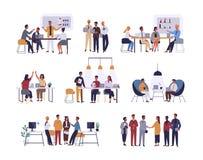 Collection de scènes au bureau Paquet des hommes et de femmes participant lors de la réunion d'affaires, négociation, séance de r illustration libre de droits