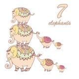 Collection de sept éléphants Image stock