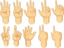 Collection de signe de main - compte des gestes Image stock