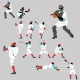 Collection de silhouette d'action de base-ball Image libre de droits