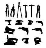 Collection de silhouette d'illustration de vecteur de machines-outils Images libres de droits