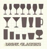 Collection de silhouette de verre à boire illustration de vecteur