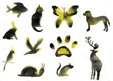 Collection de silhouettes animales, aquarelle Photographie stock