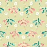 Collection de silhouettes de coupe-circuit de libellule avec l'embellissement floral et de fleurs disposées dans les rangées dans illustration de vecteur