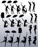 Collection de silhouettes de vecteur des femmes attirantes illustration stock