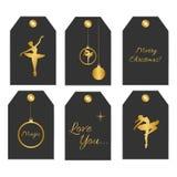 Collection de six étiquettes mignonnes de cadeau de redy-à-utilisation illustration stock