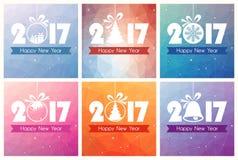 Collection de six cartes de bonne année avec le fond de polygone Photo stock