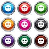 Collection de sourire de l'emotset 9 Images stock