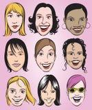 Collection de sourire de visages de femmes illustration libre de droits
