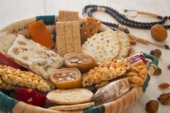 Collection de sucreries et de bonbons Mawlid Halawa de haricots photographie stock