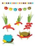 Collection de Sukkot - quatre symboles de juif Images libres de droits