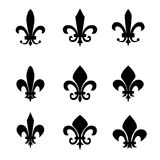 Collection de symboles de fleur de lis - silhouettes noires Photo stock
