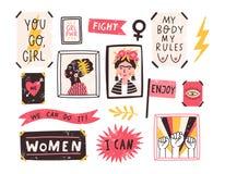 Collection de symboles du mouvement de positivité du féminisme et de corps Placez des autocollants colorés avec le positif de fém illustration libre de droits