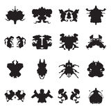 Collection de taches d'encre d'essai de Rorschach Illustration de vecteur Photographie stock