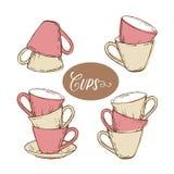 Collection de tasses de thé dans le style de vintage Photos stock