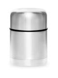 Collection de thermos en métal d'isolement sur le fond blanc Images stock