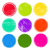 Collection de timbres grunge de courrier de cercles colorés Bannières, insignes, logos, icônes, labels et insignes réglés formes  Photos libres de droits