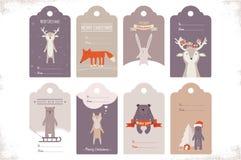 Collection de 8 étiquettes de cadeau de Noël de métier Images stock