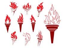 Collection de torches brûlantes illustration de vecteur