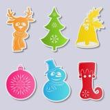 Collection de trame d'autocollants de Noël pour votre conception Un ensemble de six écharpes de bonhomme de neige d'icônes et cha Image libre de droits
