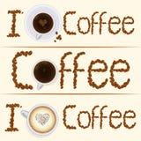 Collection de trois bannières de café de vintage dedans Photo stock