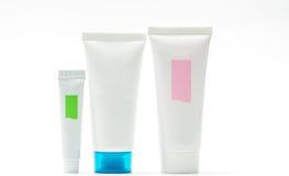 Collection de tube cosmétique d'isolement, label vide Photographie stock