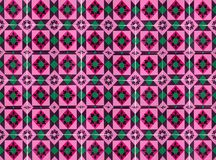 Collection de tuiles roses et vertes de modèles image stock