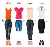 Collection de vêtements à la mode Photo libre de droits