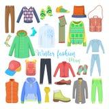 Collection de vêtements et d'accessoires d'hiver d'homme avec des chaussures, des manteaux et des chandails Image stock