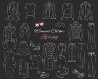 Collection de vêtements de femmes Équipement de ressort Illustration de vecteur Images libres de droits
