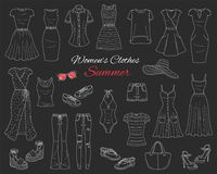Collection de vêtements de femmes Illustration de croquis de vecteur Image libre de droits