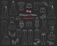 Collection de vêtements de femmes Illustration de croquis de vecteur Image stock