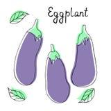 Collection de vecteur avec la silhouette des aubergines L?gumes mignons de bande dessin?e illustration de vecteur