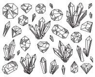 Collection de vecteur de beaux cristaux et pierres gemmes Image libre de droits