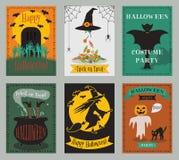 Collection de vecteur de cartes de voeux d'invitation ou de partie de Halloween illustration de vecteur