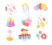 Collection de vecteur d'éléments de décor de fête d'anniversaire - les confettis, chapeau, baguette magique magique, gâteau du BD illustration de vecteur