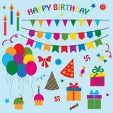 Collection de vecteur d'éléments pour la fête d'anniversaire Image stock