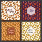 Collection de vecteur d'Autumn Leaves Poster Card Design Photographie stock