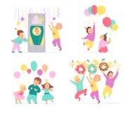 Collection de vecteur d'enfants de fête d'anniversaire, éléments d'idée de décor d'isolement sur le fond blanc - ballons, sucreri illustration stock