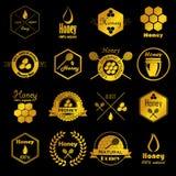Collection de vecteur d'insignes de miel Photos stock