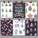 Collection de vecteur de calibres d'affiche de Noël Placez les cartes de voeux Couleurs lumineuses Image stock