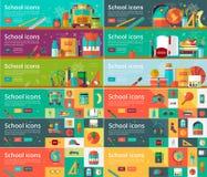 Collection de vecteur de concepts de construction plats d'éducation Bannières horizontales réglées avec des articles d'école Image libre de droits
