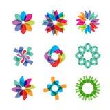 Icônes colorées de fleur illustration stock