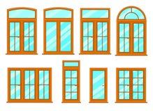 Collection de vecteur de divers types de fenêtres Images stock