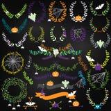 Collection de vecteur de Halloween florale, de lauriers et de guirlandes Image libre de droits