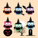 Collection de vecteur de hiboux fantasmagoriques de Halloween Image stock