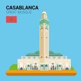 Collection de vecteur de monuments et de points de repère : Grande mosquée de Casablanca illustration de vecteur