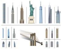 Collection de vecteur de points de repère de New York City illustration libre de droits