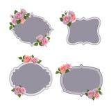 Collection de vecteur de rétros labels de style, logos avec des roses Photographie stock