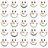 Collection de vecteur de visages mignons de bonhomme de neige Photo libre de droits